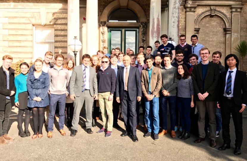 Group photo of Sajid Javid and Exeter University students