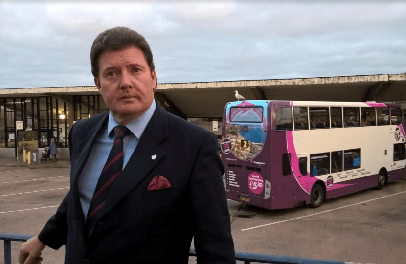 Cllr Andrew Leadbetter praises the re-opening of Exeter bus station